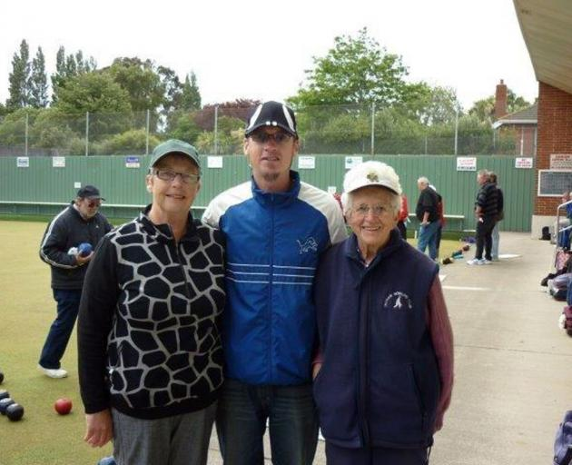 Three generations of one family who won the Green Island open triples tournament. Pictured (from left) are Lynne Seddon (mother), Gareth Seddon (grandson) and Mary Jamieson (grandmother). Photo supplied.