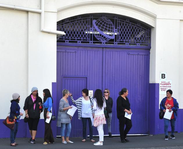 Staff outside the iconic Dunedin Cadbury factory. Photo: ODT.