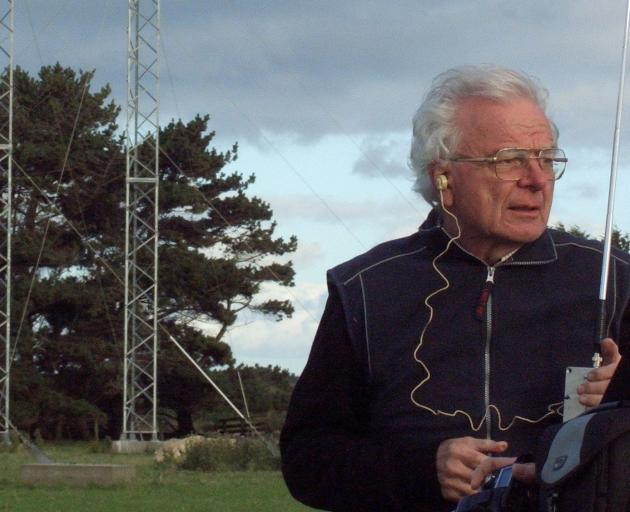 Dick Dowden, Low Frequency Electromatic Research Ltd director, checks for local radio...