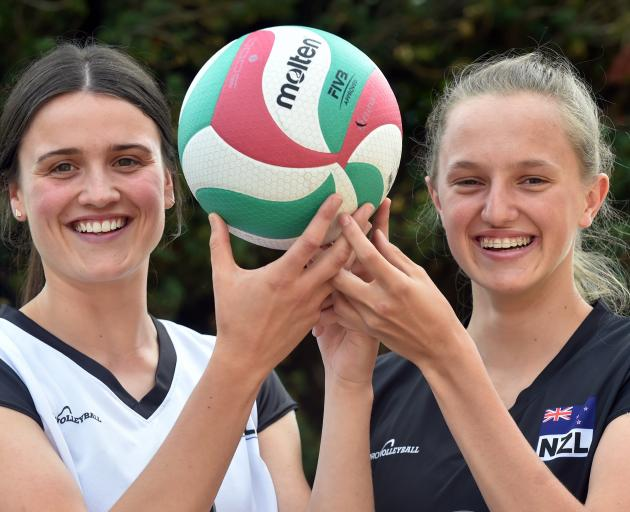 Otago Girls' High School pupils Maddy Campbell (left) and Jenna Thorne, after being selected for the New Zealand under-18 women's volleyball team. Photo by Peter McIntosh.
