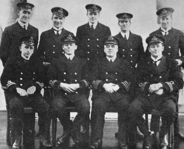New Zealand engineer officers on H.M.S. Avenger. Back row (from left): Engineer Sub-lieutenants H. H. Wilson (Mosgiel) T. G. McLaren (Dunedin), W. J. Urquhart (Dunedin), W. H. Richardson (Dunedin), G. H. McLeod (Auckland). Front row: Engineer-lieutenants