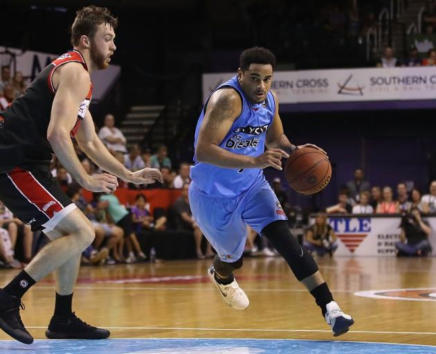 Corey Webster drives for the New Zealand Breakers against the Illawarra Hawks last season. Photo:...