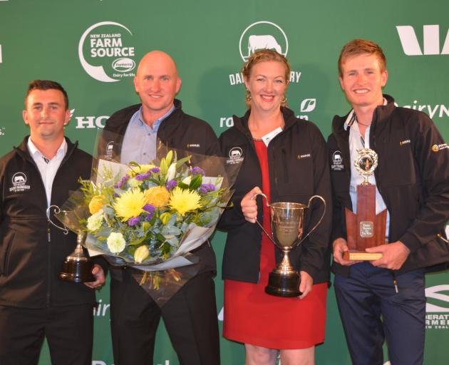 The winners in the West Coast-Top of the South New Zealand Dairy Industry Awards are (from left) Dairy Manager of the Year Jack Raharuhi, Share Farmers of the Year Jon and Vicki Nicholls, and Dairy Trainee of the Year Clay Paton. Photo supplied.