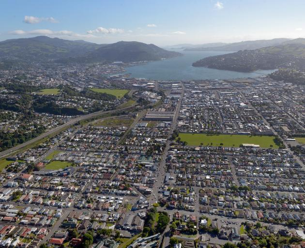 The view across southern Dunedin towards Otago Harbour. Photo by Stephen Jaquiery.