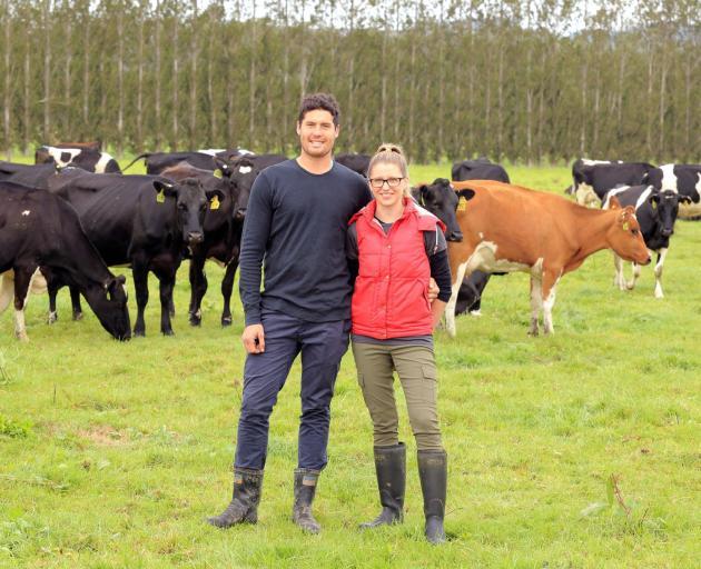 Kaitangata sharemilkers Mathew and Catherine Korteweg have confidence in the future of the dairy industry. Photo by Richard Schofield.