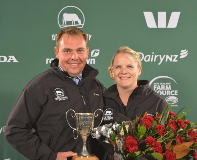 Russell and Tracy Bouma, of Clydevale, winners of the 2017 Southland-Otago Dairy Industry Awards Sharefarmer of the Year. Photo from NZ Dairy Industry Awards.