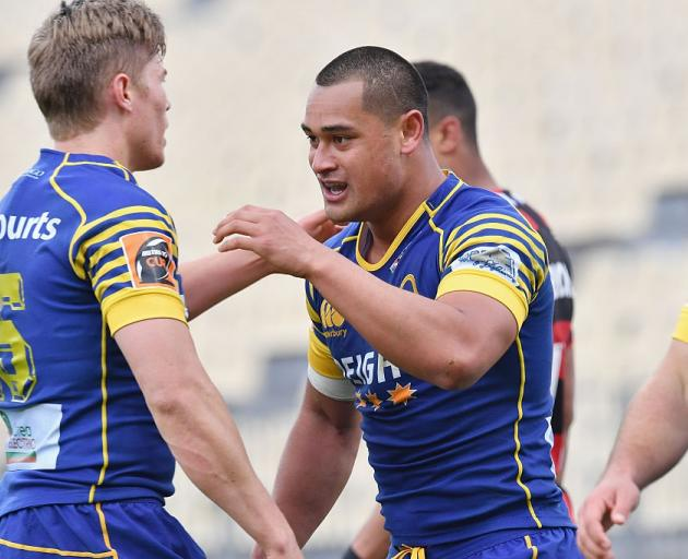 Fa'asiu Fuatai with Tony Ensor during a match for Otago last year. Photo: Getty Images