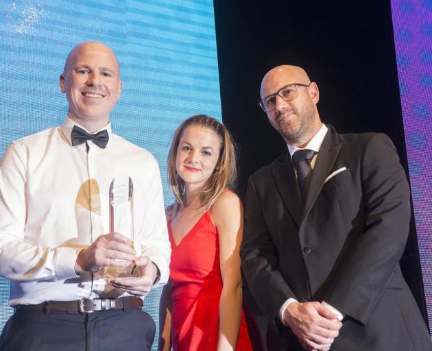 Timely co-founder and product manager Will Berger (left), social media manager Jen Corbett and head of finance Angus Weir at the NZ Hi-Tech Awards in Auckland. Photo: Supplied.