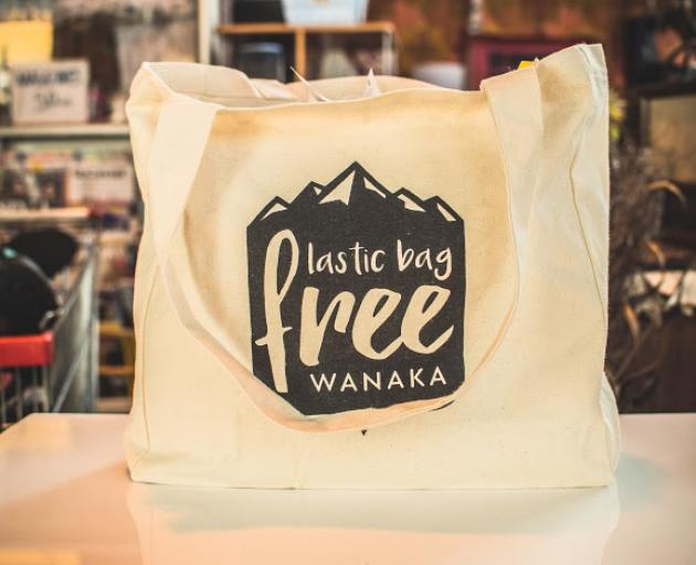 A fabric Plastic Bag Free Wanaka bag, perfect for Plastic Free July.