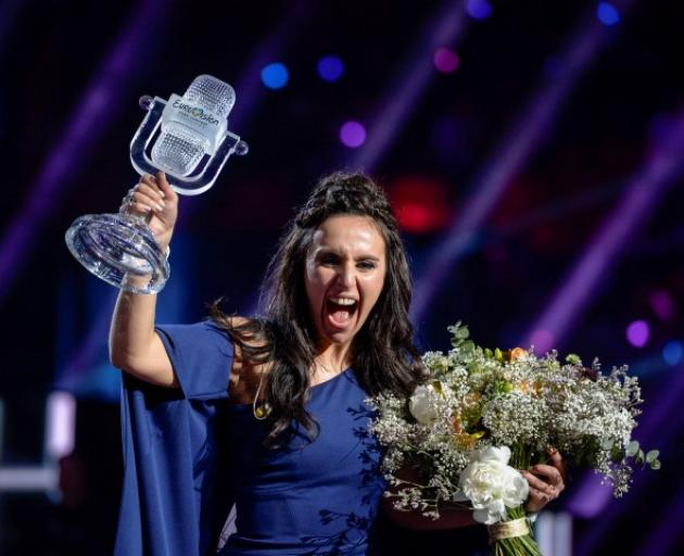 Jamala celebrates her victory in the Eurovision Song Contest at the Ericsson Globe Arena in...