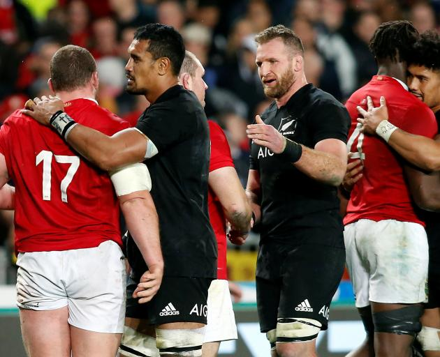 Lions and All Blacks congratulate each other after the final test at Eden Park. Photo: ODT files