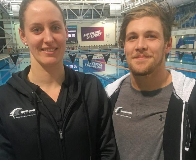 St Clair Surf Life Saving Club members Carina Doyle and Andrew Trembath in Auckland over the...