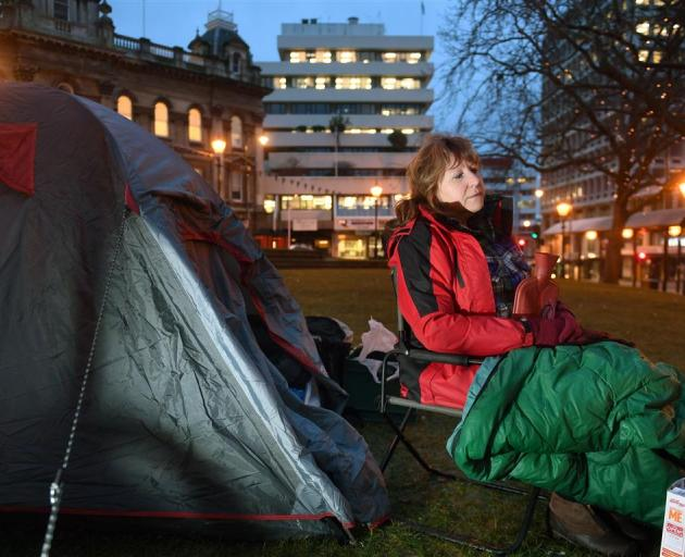 Clare Curran in her protest camp in the Octagon, Dunedin, yesterday morning, in support of two...