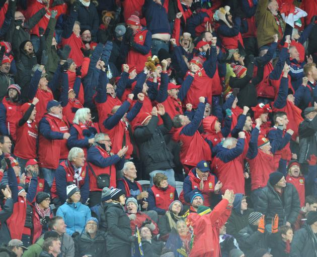 The touring Lions supporters boosted June retail spending, but did not meet all expectations; pictured, supporters at the Highlanders game last month at Forsyth Barr Stadium. Photo: Gerard O'Brien
