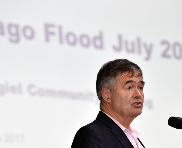 Dunedin Mayor Dave Cull speaks in Mosgiel last night. Photo: Peter McIntosh