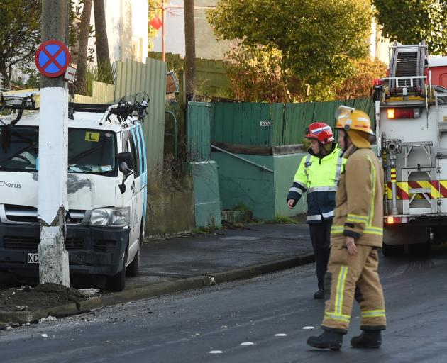 A Chorus van hit a power pole in icy conditions in Glen Rd, Dunedin, at the weekend. Photo: Gregor Richardson