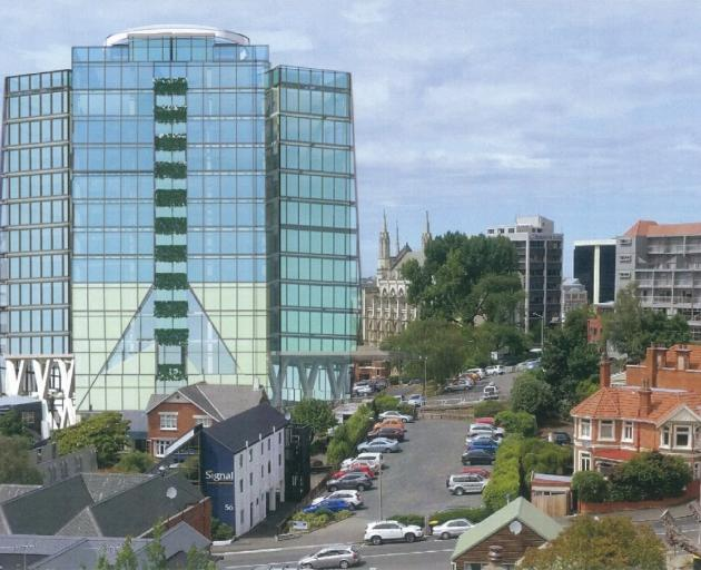How the proposed hotel in Moray Pl, Dunedin, is expected to look from Cargill St. Image: supplied.