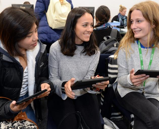 University of Otago international students (from left) Reiko Castillo (20), of the Philippines, ...