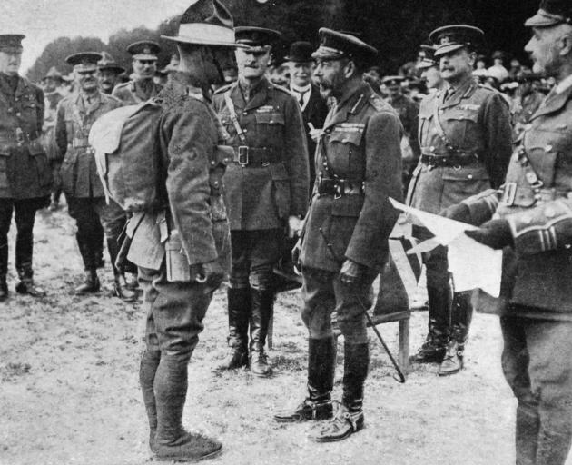 King George V inspects New Zealand troops stationed on the Salisbury Plain in  England. — Otago...