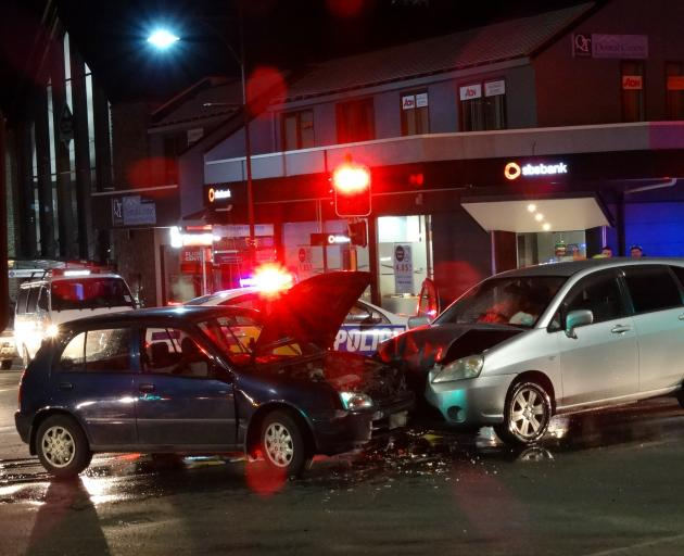 A head-on crash in Queenstown this morning between a Toyota Starlet and Suzuki Aerio on the corner of Stanley and Shotover Sts. Photo: David Williams