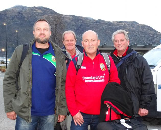 Lions fans (from left) Rob Howatson, of The Valleys, in South Wales, Mike Lowe, from Birmingham, Rob Brooks, from Cardiff, and Dave Hill, from Porthcawl, Wales, arrive at Queenstown Airport yesterday. Photo: David Williams