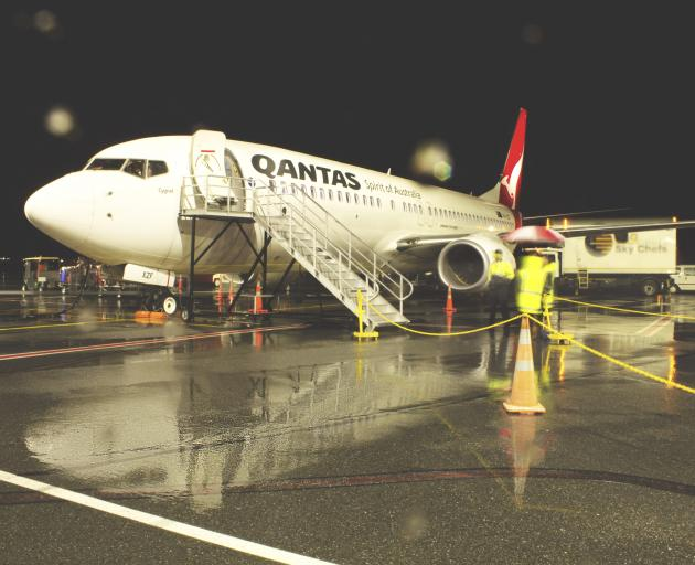 The first Qantas night flight to Queenstown on the airport's tarmac on Saturday. Photo: Supplied