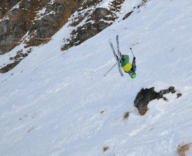 Olly Thomas (14), of Wanaka, who came third in his age group, executing a backflip down the Arcadia chute. Photo: Ima Badiola