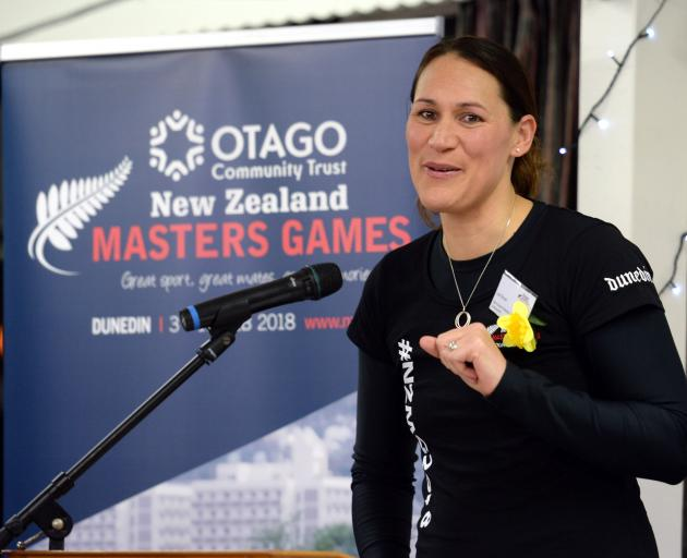 Former Silver Fern and Otago Community Trust New Zealand Masters Games ambassador Jodi Brown speaks at the launch of the games at the St Clair Golf Club last night. Photo: Linda Robertson