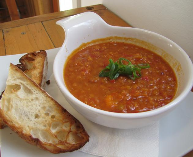 The Bank Cafe's roast vegetable and red lentil soup. Photo: Pam Jones