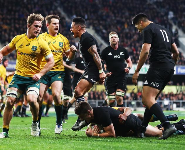 Beauden Barrett scored late on to seal a thrilling win for the All Blacks over the Wallabies in Dunedin tonight. Photo:Getty Images