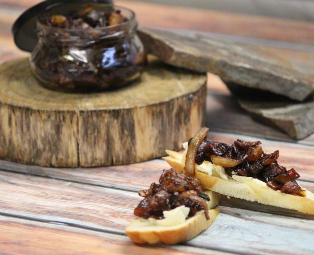 Smoky bacon jam on crostini. Photo: Jonno Clench