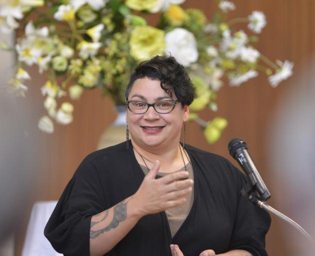 Former Green Party co-leader Metiria Turei speaks during a political forum at Knox Church Hall yesterday. Photo: Gerard O'Brien
