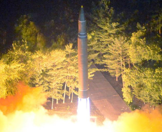 Intercontinental ballistic missile (ICBM) Hwasong-14 is pictured during its second test-fire. Photo: Reuters