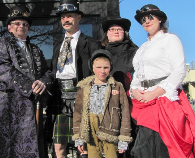 Steampunk lovers (from left) Craig Patterson, of Alexandra, and Adam, Alex (7), Hayley and Tami Rubie, all of Omakau, spread the word about a Central Otago Steampunk group they are hoping to form. Photo: Pam Jones