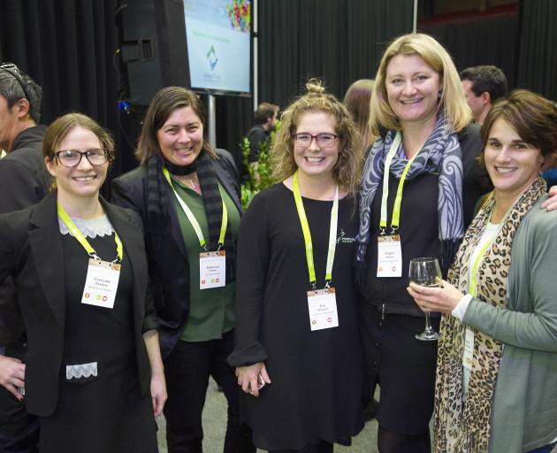Discussing why there are few women in leadership roles in the horticultural industry during the HortNZ conference in Tauranga are (from left) Cressida Bywater, of Market Access Solutionz, Rebecca Fisher, of NZ Citrus Growers Inc, HortNZ policy analyst Eve