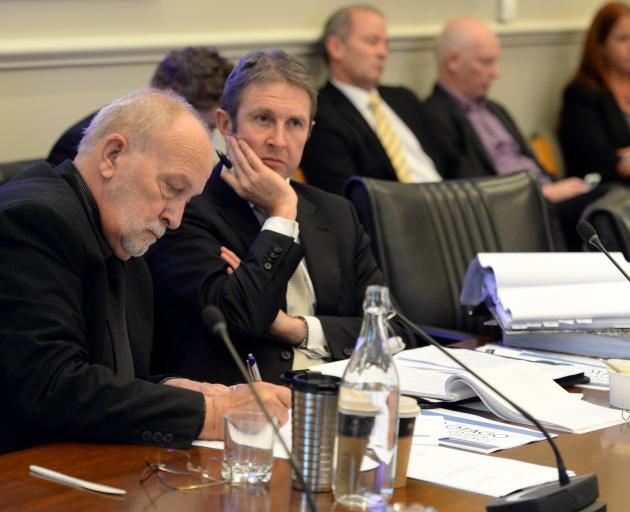 Hotel proponent Anthony Tosswill and lawyer Phil Page at the hearing yesterday. Photo: Linda Robertson