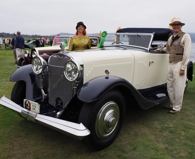Sonia and Mark Richter beside their winning 1931 Hispano Suiza J12 Saoutchik-bodied Transferable at the Pebble Beach Concours d'Elegance in California. Photo: Lexi Maciel