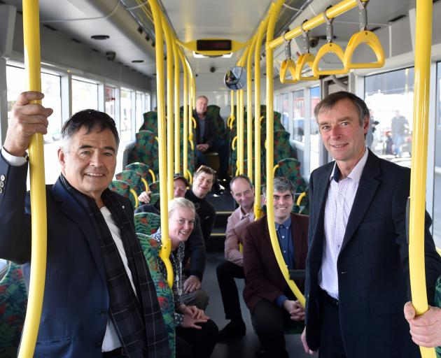 Riding the bus are (from left) Dunedin Mayor Dave Cull, Otago Regional Council deputy chairwoman Gretchen Robertson, ORC councillor Sam Neill, DCC councillor Rachel Elder, ORC councillor Bryan Scott, DCC councillor Jim O'Malley, DCC councillor Aaron Hawki