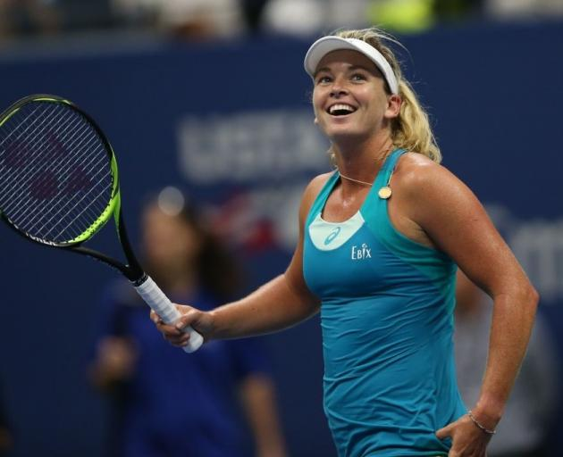 CoCo Vandeweghe celebrates after knocking out Karolina Pliskova on the way to making the US Open...