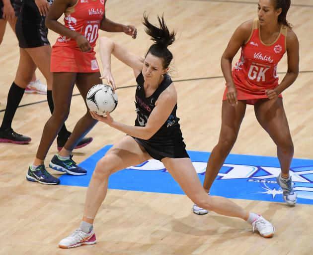 Bailey Mes of New Zealand in action during the Test match between the New Zealand Silver Ferns and the England Roses in Napier. Photo:Getty Images
