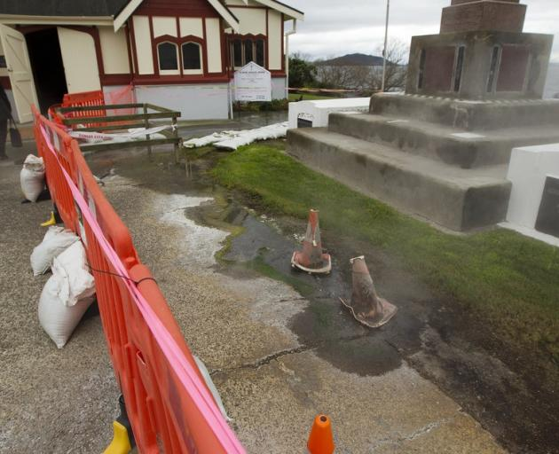 Geothermal activity has been fenced off outside St Faith's Church. Photo: NZ Herald/Ben Fraser