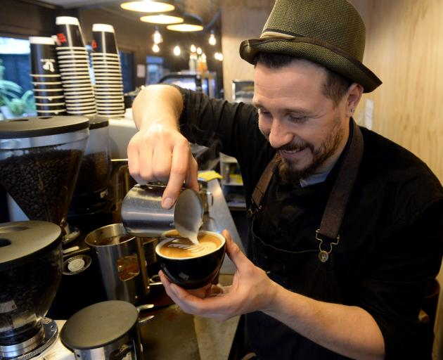 Max Baldoni (30) is from Argentina and works at Insomnia (formerly Strictly Coffee). Photo: Linda Robertson