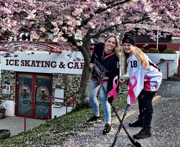 Queenstown ice hockey players Kellye Nelson (left) and Coco Lund will play in Saturday's charity...