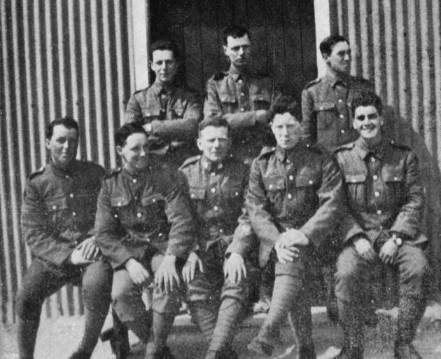 A group of Otago signallers at Sling Camp, England. Top row (from left): P. Peacock, G. Thurlow,...