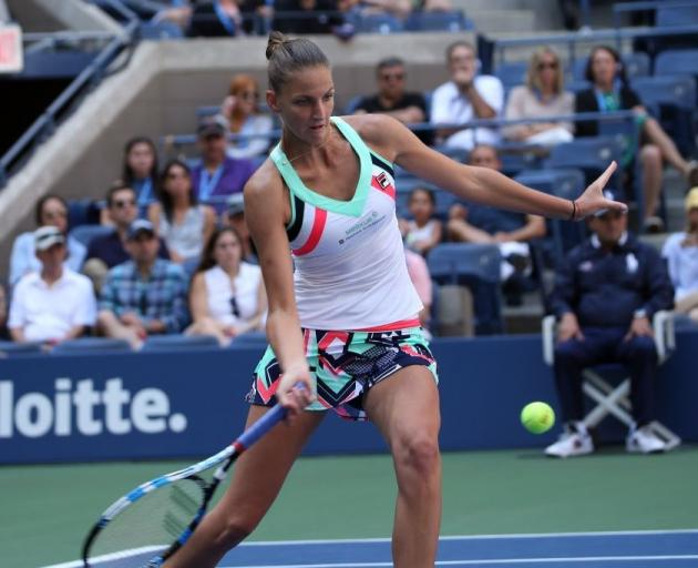 Karolina Pliskova plays a forehand during her win over Jennifer Brady at the US Open. Photo:...