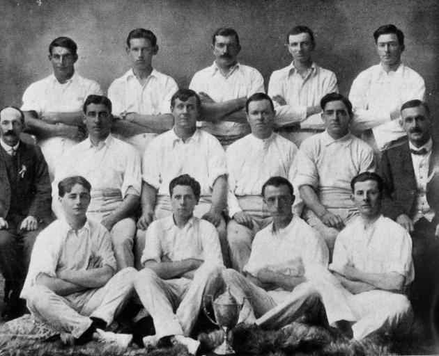 The Dunedin City Corporation Tramway Cricket Club, winners of the Baker Challenge Cup for 1916-17...