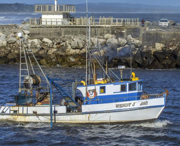 The Wendy J about to cross the Greymouth bar in July this year. Photo: Greymouth Star
