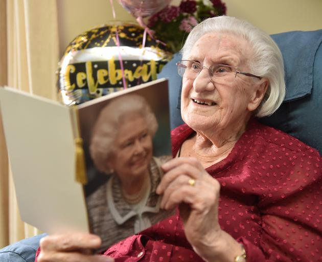 Evelyn Middlemiss turns 100 yesterday at Chatsford in Mosgiel. Photo: Gregor Richardson