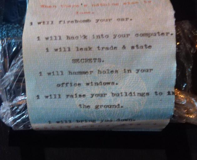 The poem by Dene Barnes that caused central Dunedin evacuations. Photo: Supplied