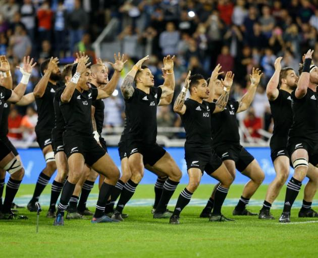 The All Blacks perform the haka before their match against Argentina in Buenos Aires earlier this...